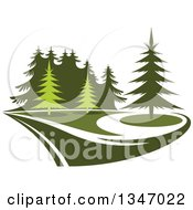 Clipart Of A Park With Evergreen Trees 2 Royalty Free Vector Illustration by Seamartini Graphics