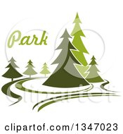Clipart Of A Park With Evergreen Trees And Text 2 Royalty Free Vector Illustration