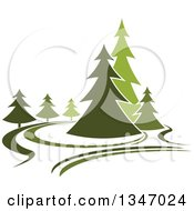 Clipart Of A Park With Evergreen Trees 3 Royalty Free Vector Illustration by Seamartini Graphics