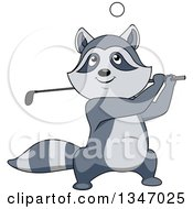 Clipart Of A Cartoon Raccoon Golfing Royalty Free Vector Illustration