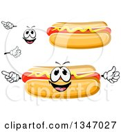 Clipart Of A Cartoon Face Hands And Hot Dogs With Mustard 2 Royalty Free Vector Illustration