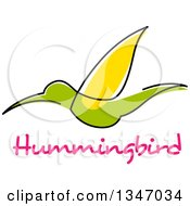 Clipart Of A Sketched Green And Yellow Hummingbird And Text 2 Royalty Free Vector Illustration