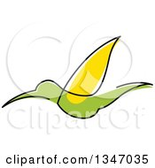 Clipart Of A Sketched Green And Yellow Hummingbird 2 Royalty Free Vector Illustration