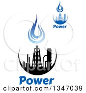 Black And Blue Natural Gas And Flame Designs With Text 23