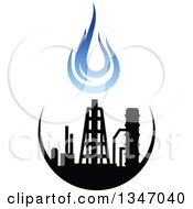 Clipart Of A Black And Blue Natural Gas And Flame Design 24 Royalty Free Vector Illustration