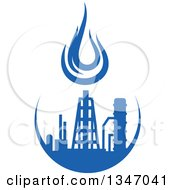 Clipart Of A Silhouetted Blue Natural Gas And Flame Factory 7 Royalty Free Vector Illustration
