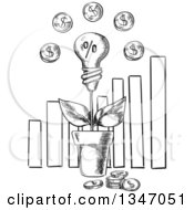 Black And White Sketched Light Bulb Investment Plant With Coins Over A Bar Graph