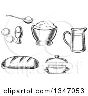 Clipart Of A Black And White Sketched Loaf Of Bread Eggs Butter Flour And A Measuring Cup Royalty Free Vector Illustration