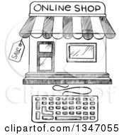 Clipart Of A Black And White Sketched Online Shop Building With A Keyboard Royalty Free Vector Illustration by Vector Tradition SM