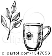 Poster, Art Print Of Black And White Sketched Tea Cup With A Bag Label And Leaves