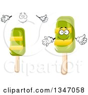 Clipart Of A Cartoon Face Hands And Lime Popsicles Royalty Free Vector Illustration