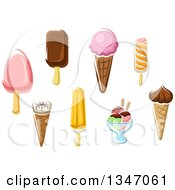 Clipart Of Cartoon Ice Cream Desserts Royalty Free Vector Illustration by Vector Tradition SM