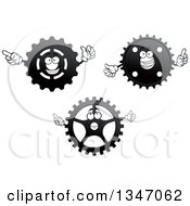 Clipart Of Cartoon Gear Cog Wheel Characters 2 Royalty Free Vector Illustration