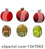 Clipart Of Cartoon Pomegranates And Kiwi Fruits Royalty Free Vector Illustration by Vector Tradition SM