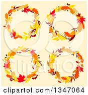 Clipart Of Colorful Autumn Leaf Wreaths Over Beige Royalty Free Vector Illustration by Vector Tradition SM