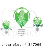 Clipart Of Green Leaf Light Bulbs With Text Royalty Free Vector Illustration