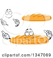 Clipart Of A Cartoon Face Hands And Baguette French Bread 2 Royalty Free Vector Illustration