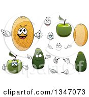 Cartoon Faces Hands Green Apples Cantaloupe Melons And Avocados