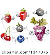 Clipart Of Berry Cherry And Grape Characters Royalty Free Vector Illustration by Vector Tradition SM