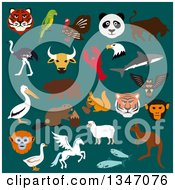 Clipart Of Flat Design Wild Animals Over Teal Royalty Free Vector Illustration by Vector Tradition SM
