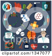 Clipart Of A Flat Design Nurse And Medical Icons On Blue Royalty Free Vector Illustration