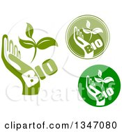 Clipart Of Green Bio Hands With Leaves Royalty Free Vector Illustration