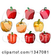 Clipart Of Cartoon Red And Orange Bell Peppers Royalty Free Vector Illustration
