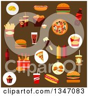 Clipart Of Flat Design Fast Food Icons On Brown Royalty Free Vector Illustration