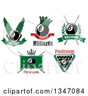 Clipart Of Billiard Eightball Athletic Sports Designs With Text Royalty Free Vector Illustration