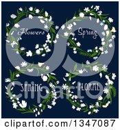 Clipart Of Circular Floral Wreaths With Text On Navy Blue 2 Royalty Free Vector Illustration