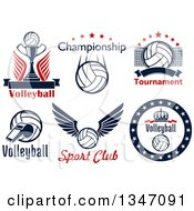 Clipart Of Volleyball Athletic Sports Designs With Text Royalty Free Vector Illustration