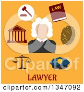 Clipart Of A Flat Design Male Judge Avatar With Legal Icons On Orange With Text Royalty Free Vector Illustration by Vector Tradition SM