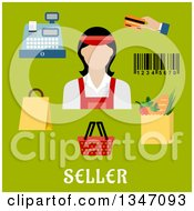 Flat Design Female Cashier Avatar With Retail Items And Text On Green
