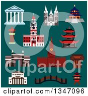 Clipart Of Flat Design Famous World Landmark Buildings Over Teal Royalty Free Vector Illustration by Vector Tradition SM