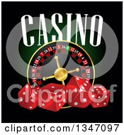 Clipart Of A Roulette Wheel With Dice And Casino Text Royalty Free Vector Illustration by Vector Tradition SM