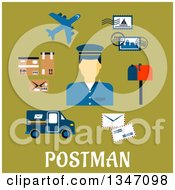 Clipart Of A Flat Design Male Postman Avatar With Icons Over Text On Green Royalty Free Vector Illustration by Vector Tradition SM