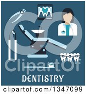 Clipart Of A Flat Design Female Dentist Avatar And Accessories With Text On Blue Royalty Free Vector Illustration