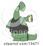 Green Dino In A Vest Holding A Can Of Beer Clipart Illustration
