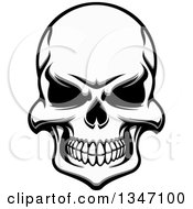 Clipart Of Tough Grayscale Evil Human Skull Royalty Free Vector Illustration