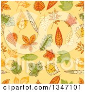 Clipart Of A Seamless Background Pattern Of Sketched Autumn Leaves Over Pastel Orange Royalty Free Vector Illustration by Vector Tradition SM