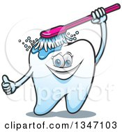 Clipart Of A Cartoon Tooth Character Giving A Thumb Up And Brushing Itself Royalty Free Vector Illustration