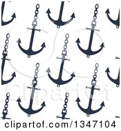 Clipart Of A Seamless Background Pattern Of Navy Blue Anchors On Chains Royalty Free Vector Illustration by Vector Tradition SM