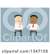 Clipart Of A Flat Design Of Happy White And Black Business Men Shaking Hands On A Deal Over Blue 2 Royalty Free Vector Illustration