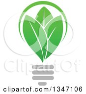 Clipart Of A Green Leaf Light Bulb 2 Royalty Free Vector Illustration by Vector Tradition SM