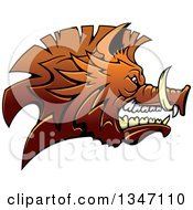 Clipart Of A Snarling Vicious Brown Razorback Boar Mascot Head In Profile Royalty Free Vector Illustration
