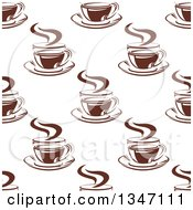 Clipart Of A Seamless Background Pattern Of Steamy Brown Coffee Cups 15 Royalty Free Vector Illustration