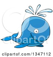 Clipart Of A Cartoon Happy Blue Spouting Whale Royalty Free Vector Illustration by Vector Tradition SM