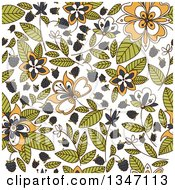 Clipart Of A Seamless Background Pattern Of Blackberries Flowers And Leaves Royalty Free Vector Illustration by Vector Tradition SM