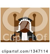 Clipart Of A Flat Design Tired And Unhappy Black Male Judge Royalty Free Vector Illustration