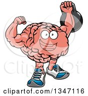 Cartoon Strong Muscular Brain Character Working Out With A Kettlebell